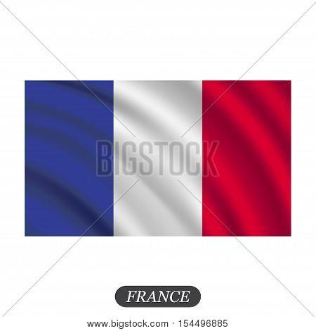 Waving France flag on a white background. Vector illustration