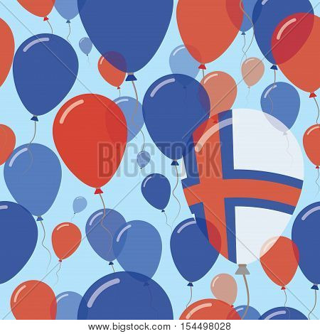 Faroe Islands National Day Flat Seamless Pattern. Flying Celebration Balloons In Colors Of Faroese F