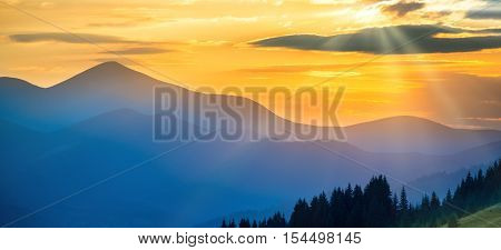 Panorama Of Sunset In The Mountains