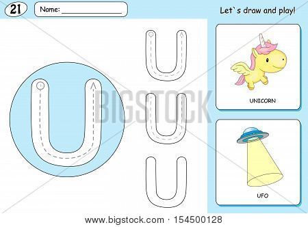Cartoon Unicorn And Ufo. Alphabet Tracing Worksheet: Writing A-z And Educational Game For Kids
