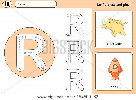Cartoon Rhinoceros And Rocket. Alphabet Tracing Worksheet: Writing A-z And Educational Game For Kids