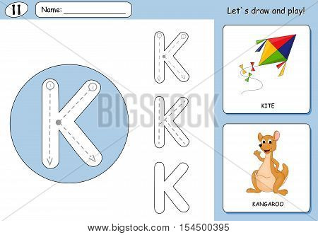 Cartoon Kite And Kangaroo. Alphabet Tracing Worksheet: Writing A-z And Educational Game For Kids