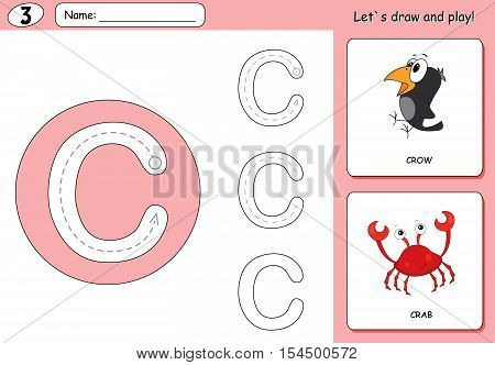 Cartoon Crow And Crab. Alphabet Tracing Worksheet: Writing A-z And Educational Game For Kids