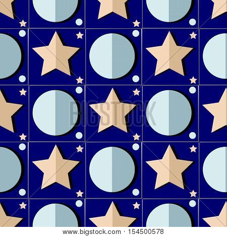 vector pattern includes stars and moon and looks like applique