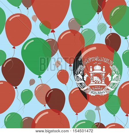 Afghanistan National Day Flat Seamless Pattern. Flying Celebration Balloons In Colors Of Afghan Flag