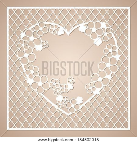 Openwork square frame with wreath of flowers in the shape of a heart. Laser cutting template for greeting cards envelopes invitations interior decorative elements.