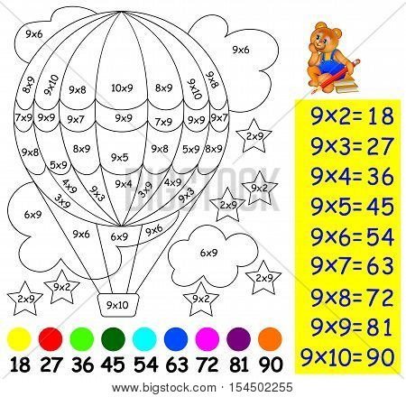 Exercise for children with multiplication by nine. Need to paint image in relevant color. Developing skills for counting and multiplication. Vector image.