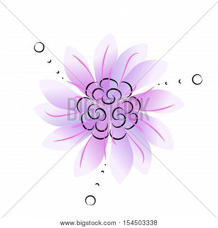 Circle ornamental blue or purple flower with three-fold symmetry nice for decoration vector illustration