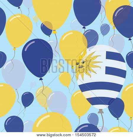 Uruguay National Day Flat Seamless Pattern. Flying Celebration Balloons In Colors Of Uruguayan Flag.