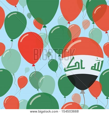 Iraq National Day Flat Seamless Pattern. Flying Celebration Balloons In Colors Of Iraqi Flag. Happy