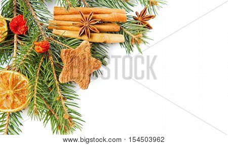 christmas decoration orange star anise and cinnamon isolated on a white background