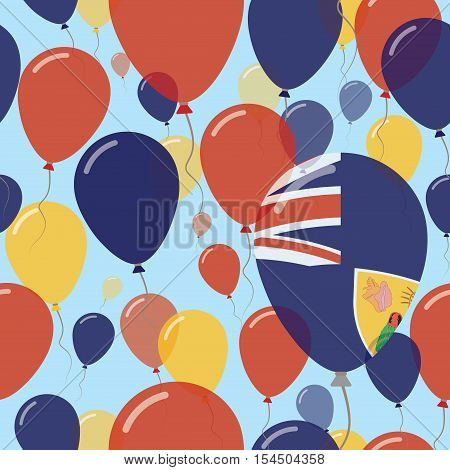 Turks And Caicos Islands National Day Flat Seamless Pattern. Flying Celebration Balloons In Colors O