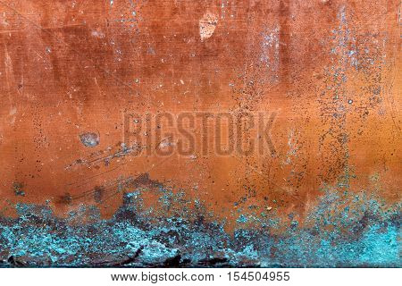 Bright Copper Texture with Turquoise Corrosion Grunge