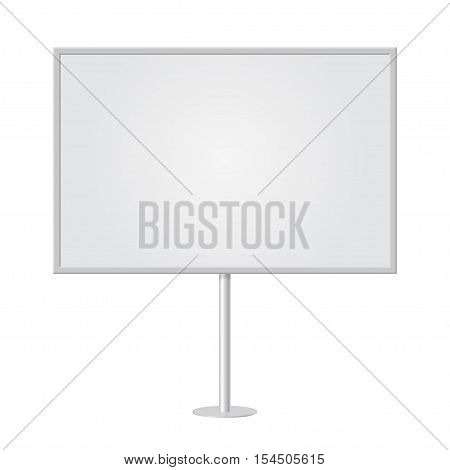 Blank whiteboard with empty copy space stand on one bar support. White billboard with frame for message commercial or presentation rectangle and horizontal. Mockup board with single stand in vector. Highlighted center.