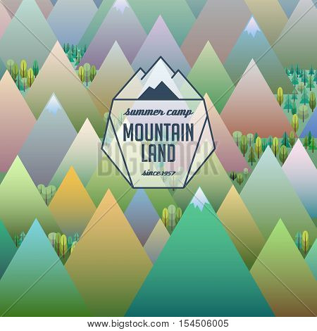 mountain land abstract logotype with sign and letters, vector sign on stylized natural background