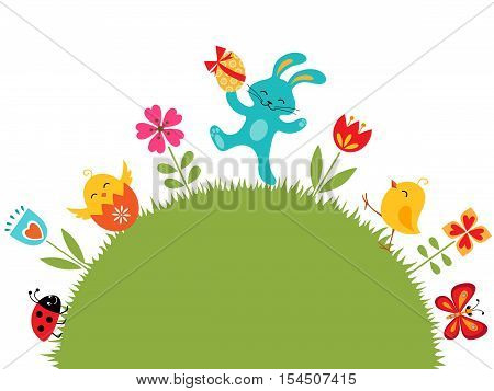 Easter design with cute rabbit, chiсks and place for your text.