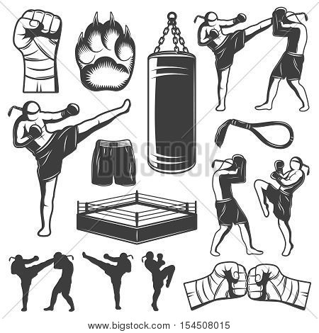 Isolated monochrome elements set with various kickboxing wrestling figures and symbols of punchbag and squared ring vector illustration poster