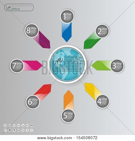 Business concept with 8 options parts steps or processes. Info graphic design template. 8 steps processes options and concepts of Business.
