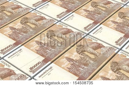 Cambodia riels bills stacks background. 3D illustration.