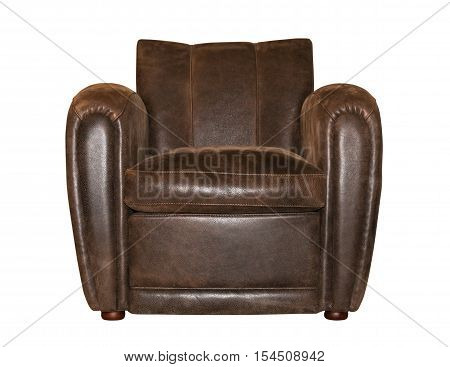 Leather brown chair isolated on white background