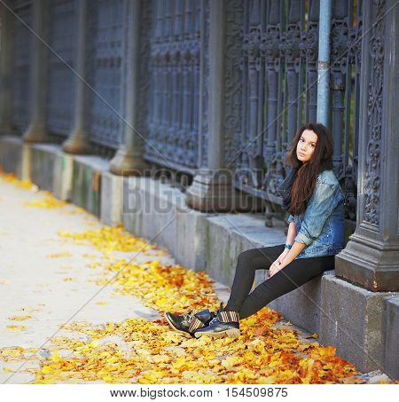 Thoughtful long-haired brunette girl in anticipation of sitting next to a beautiful metal fence near the entrance to the city park in the autumn sunny day. Under the feet of fallen maple leaves.