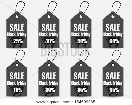 Black Friday Sales Tag. Set Of Black Friday Labels. Vector Illustration.