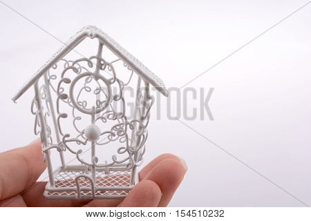Little Metal Bird House In Hand