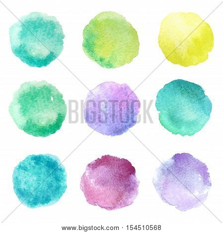 Set of hand drawn watercolor blots. Hand drawn watercolor blots good for your design logo label print card banner. Elements for your design.