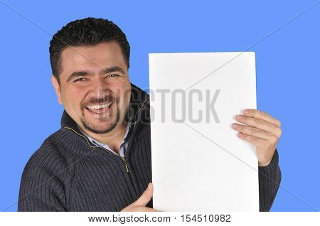 Young man holding blank sign All on blue background