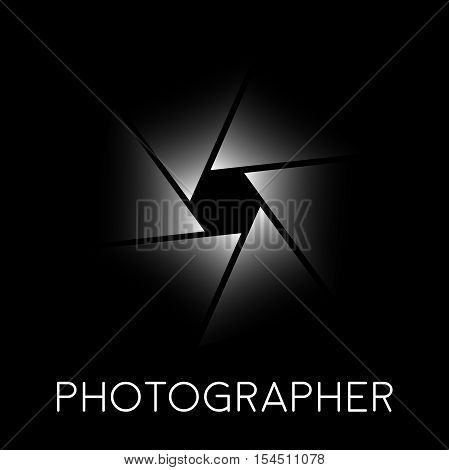 Abstract vector sign photographer diaphragm on black background