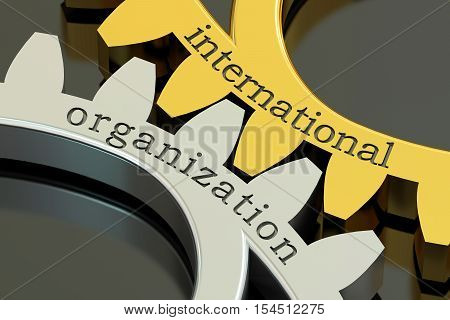 International Organization concept on the gearwheels 3D rendering