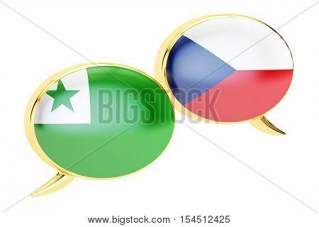 Speech bubbles Czech-Esperanto translation concept. 3D rendering