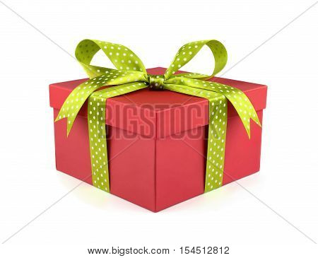 Red gift box with light green ribbon and bow isolated on white background