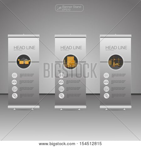 Roll Up Banner Stand template and info graphics banner stand design. Vector. poster