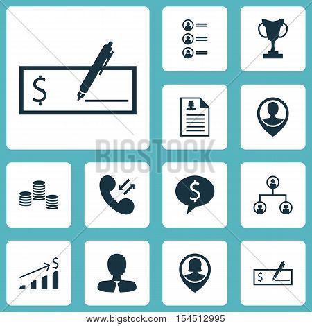 Set Of Management Icons On Tree Structure, Job Applicants And Successful Investment Topics. Editable