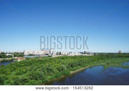 Nizhny Novgorod, Russia. - June 28.2016. View From The Metro Bridge Across The Oka River To The Isla