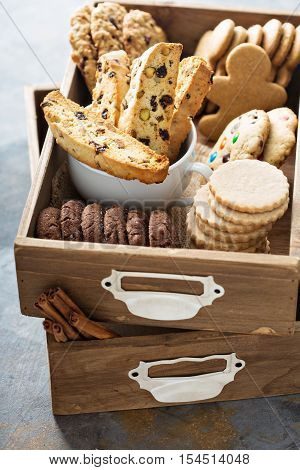 Variety of cookies for Christmas in a wooden box