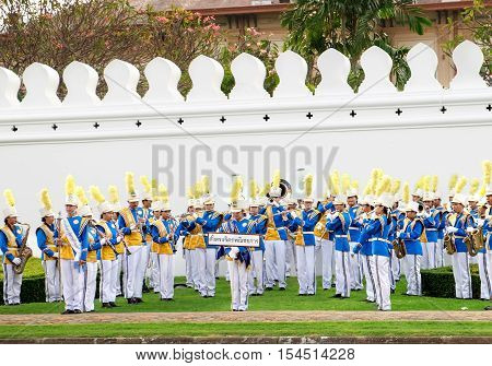 Bangkok, Thailand - December 5, 2015: The Royal Thai Army musicians on celebrating of the King Rama 9 birthday at the walls of the Grand Palace Bangkok Thailand.
