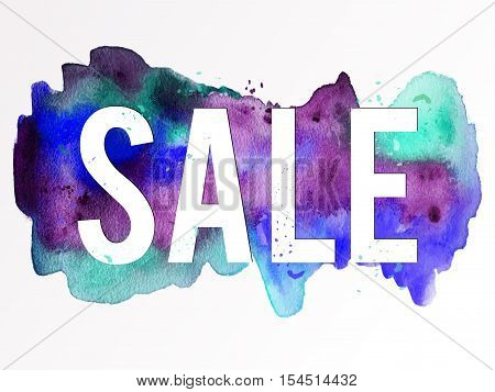 Vector watercolor handmade background. Colorful blot. Dark violet and blue spot. Sale frame. Black Friday