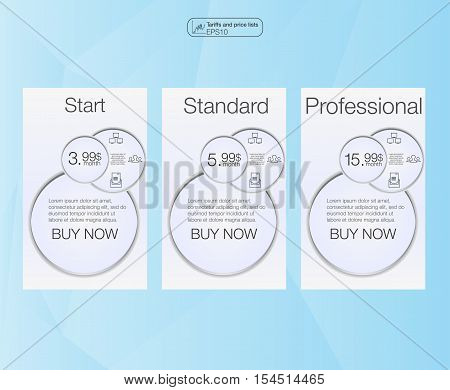 Three banner price list interface for the site. vector banner for web app. 3 position. Three vector pricing tables for web.