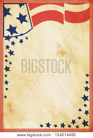 Grunge US vintage poster. US background for your advertising