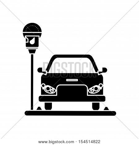 car vehicle and parking meter icon. Park space road street rule and area theme. Isolated design. Vector illustration