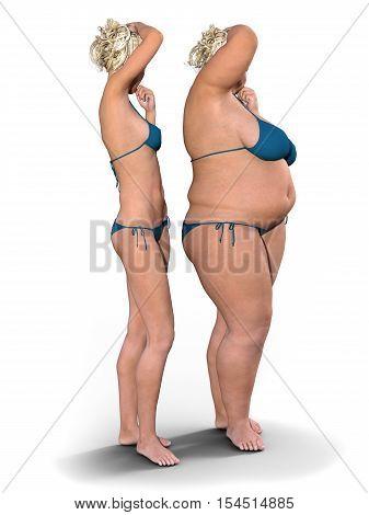 Thin Versus Fat - Photorealistic 3D Render