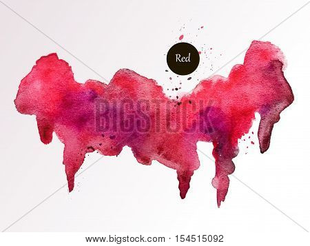 Vector red watercolor background. Abstract blot blurry texture. Saturated handmade mark. Valenin's Day.