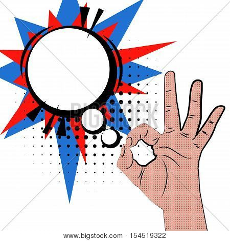 Hand sign comic retro pop art style white round bubble. Gestures okay. Cartoon comic vector colored speech bubble. Dothand drawn finger, ok sign. Like positive hand sign.