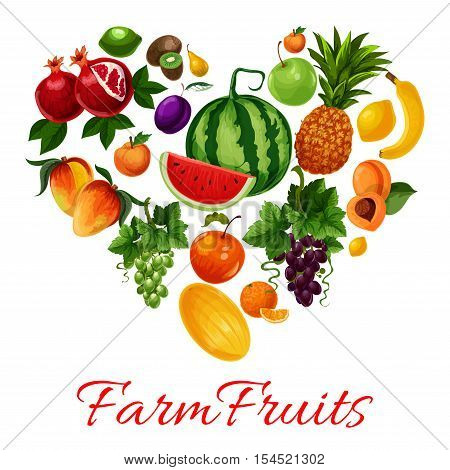 Fruits icons in heart shape. Fruit emblem of tropical and farm fruits pattern watermelon, pineapple, grape bunch, apricot, mango, melon, plum, banana, citrus lemon, lime, kiwi, pomegranate. I love fruits label for fruit products design