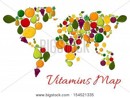 Fruit vitamins world map with fruits icons. Vector continents shape made of fresh farm and tropical exotic fruits products. Apple, mango, watermelon, orange, grape, lemon, kiwi decoration background design