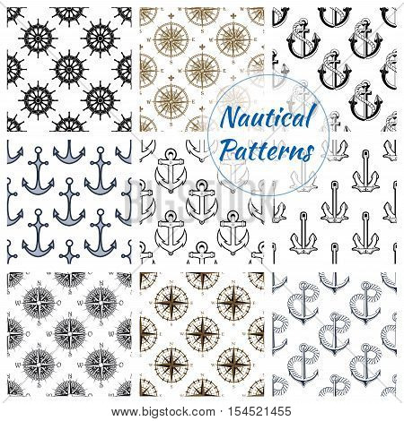 Nautical patterns set. Vector pattern of stylized navy ship anchor on rope chain, marine vessel steering wheel, navigation compass arrows. Nautical background design for greeting card, decoration, textile