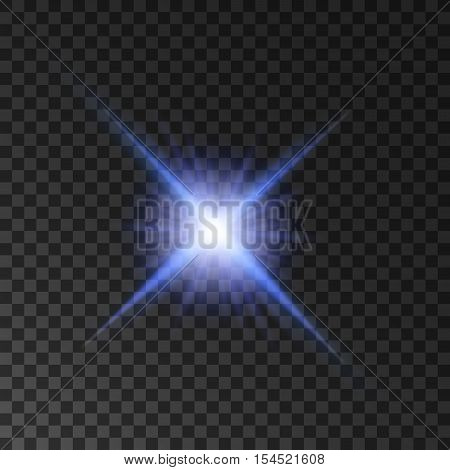 Star light shine. Glowing spot light beams. Vector isolated blue purple twinkling star. Shining sun on transparent background