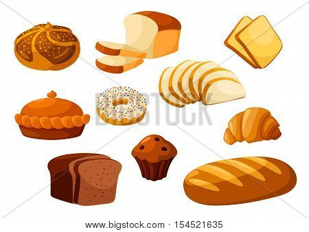 Bakery shop isolated vector flat icons. Baked bread products wheat, rye bread loafs, bagels, sliced bread toasts, croissant, chocolate muffin, donut, meat and fruit pie. Elements for bakery, pastry design